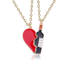2019 Spring and Autumn New 2 Pieces / Set of Wine Bottle Heart Shaped Couple Necklace Gift Pendant Creative Glass Winebowl