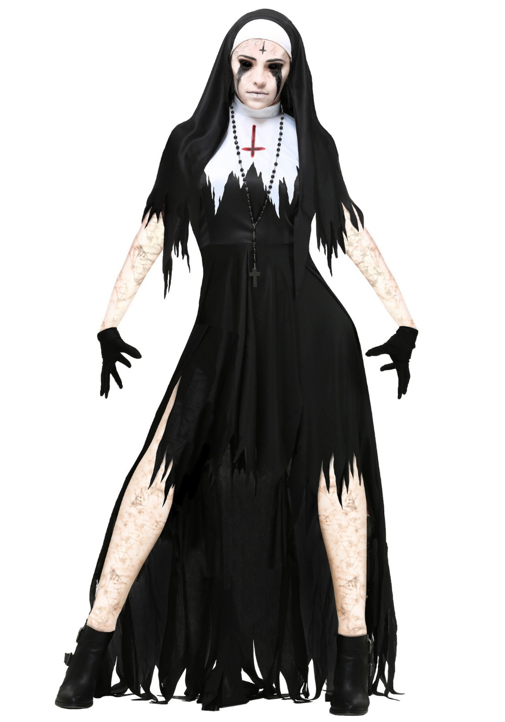 Adult Zombie Gothic Nun Costume with Cross Scary Mary Fancy Dress Halloween