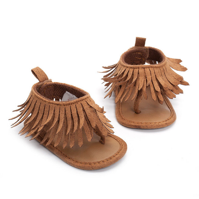 2018 Summer Newborn Baby Girl Anti-Slip Soft Sole Leather Crib Shoes Tassel Moccasin Sandals