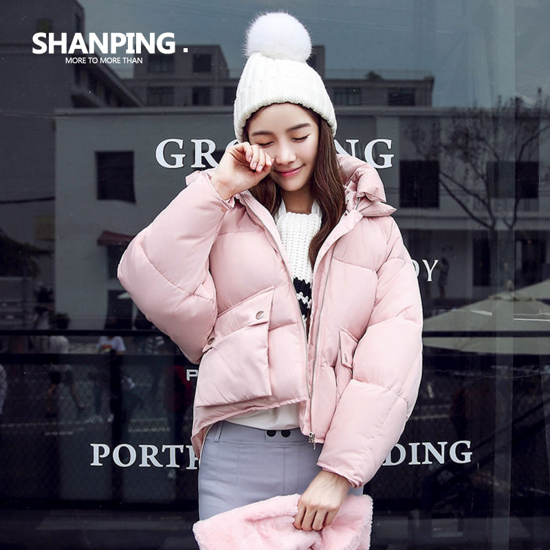 SHANPING/Autumn Parkas Winter Jacket Women Coats Female Outerwear Plus Size Casual Short Down Cotton Wadded Lady Fashion Warm winter women denim jacket flocking coats new fashion hooded cotton parkas plus size jackets female warm casual outerwear l384