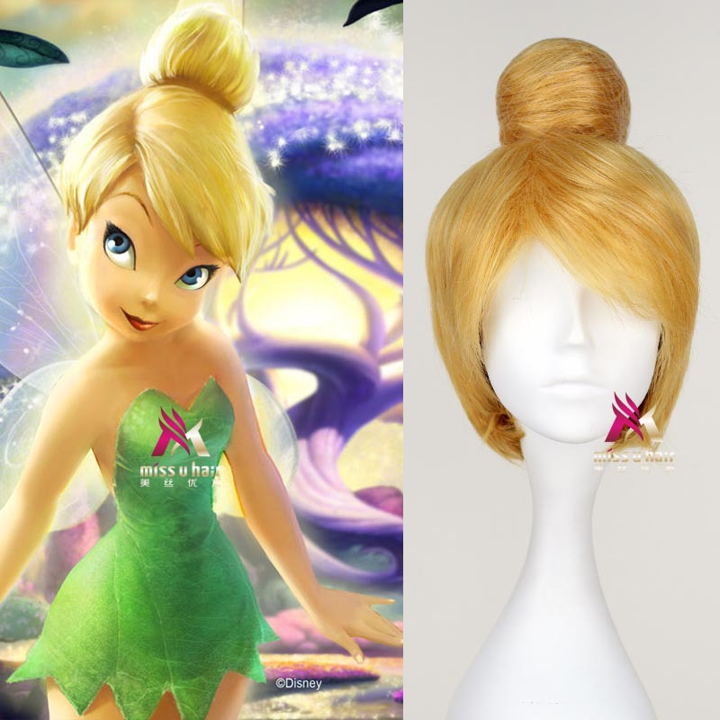 Hot Short Blonde Cosplay Wig Fairy Tinker Bell Full Hair Wigs Princess Tinkerbell Adult Size Synthetic+Wig Cap