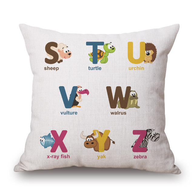 Printed English Alphabets Cushion Cover Without Core Custom Cotton Linen Decorative Pillows Sofa Chair Cushions Home