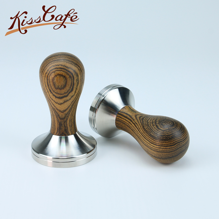 304 Stainless Steel Golden Sandalwood Handle Tamper Leopard Pattern Coffee Powder Hammer 51/54/57/58/58.35mm Tools Accessories