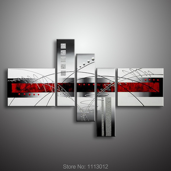 Oil Painting 100% High Quality Modern Abstract Line On Canvas 5 Pcs Set Home Wall Art Picture For Living Room Decoration Sale