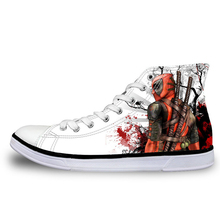 cb3904770c Noisydesigns Spring Vulcanized Shoes Men Cool Super Hero Deadpool Printed High  top Lace Up Canvas Shoes