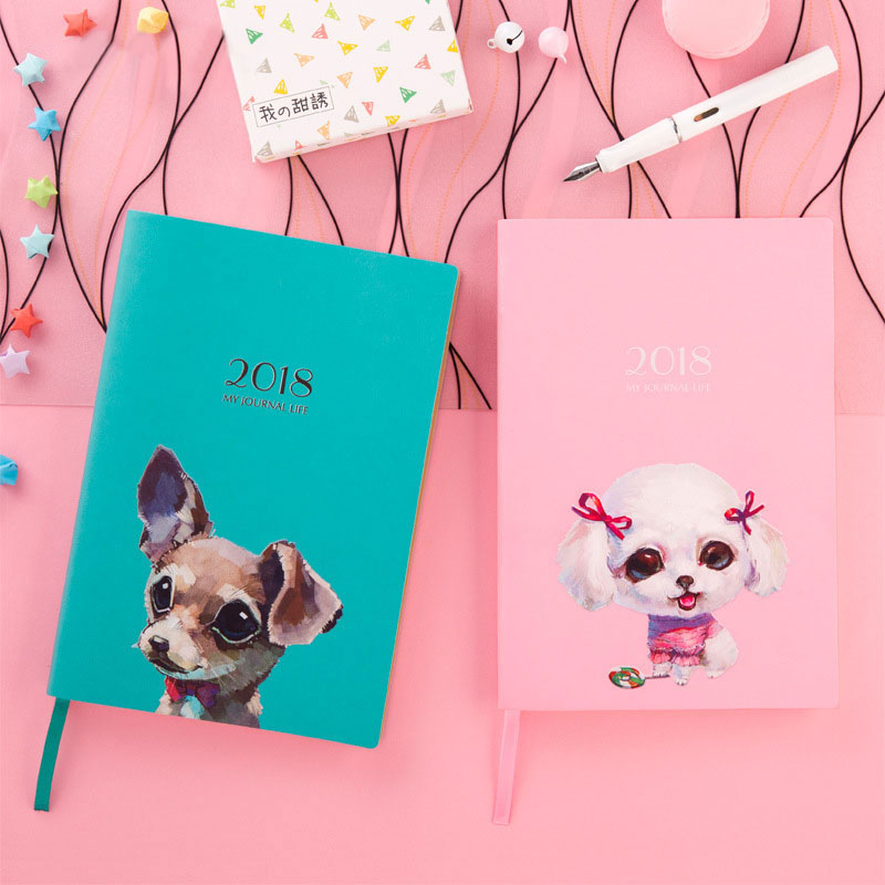 Cute Dog A5 Notebook 2018 Agenda Planner Organizer Calendar Book Planner Notepad Office Personal Diary School Supplies rights of the game notebook gift diary note book agenda planner material escolar caderno office stationery supplies gt105