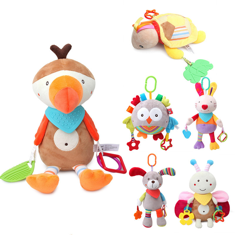 Crib Hanging Toys Baby Soft Animals Giraffe Rattle Bell Stroller Toys Kids Teether Early Learning Education Color Toys