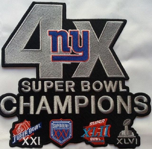 e33c4f238 Iron on NEW YORK GIANTS CHAMPIONS PIN SUPERBOWL 4X CHAMPS Embroidered Jersey  Patch