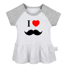 Cute I Love Mustache Gentleman Dad sugar skull owl The Big Bang Theory Newborn Baby Girls Dresses Toddler Infant Cotton Clothes(China)
