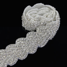 1 Yard 5 cm Silver Beads Rhinestone Appliqued Leaf for Clothes Lace Trimmings Sewing On DIY Craft High Quality
