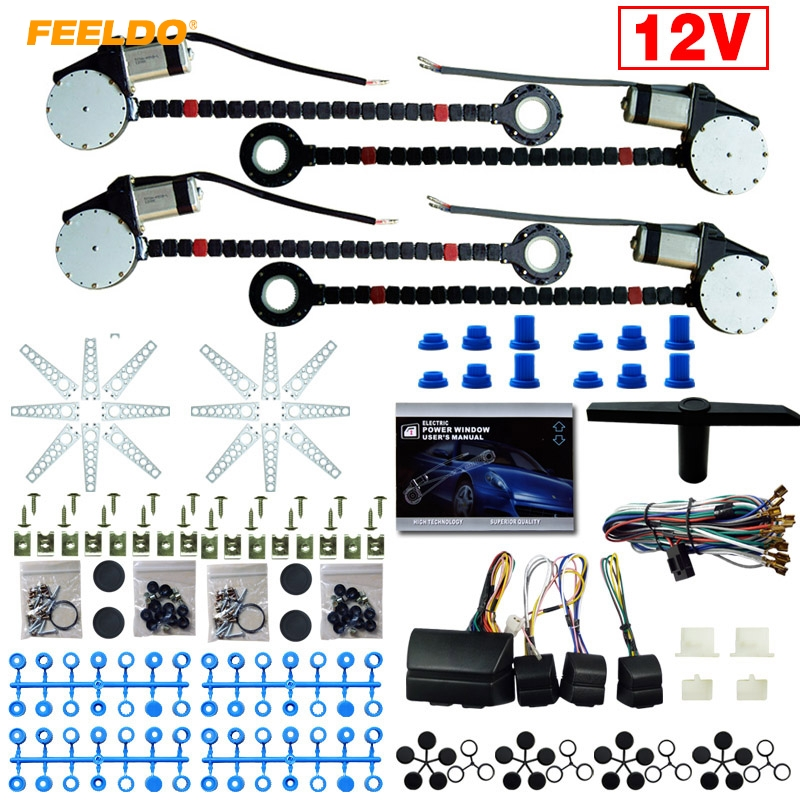 MOTOBOTS DC12V Universal Car/Auto 4 Doors Electronice Power Window kits With 8pcs/Set Swithces and Harness #907