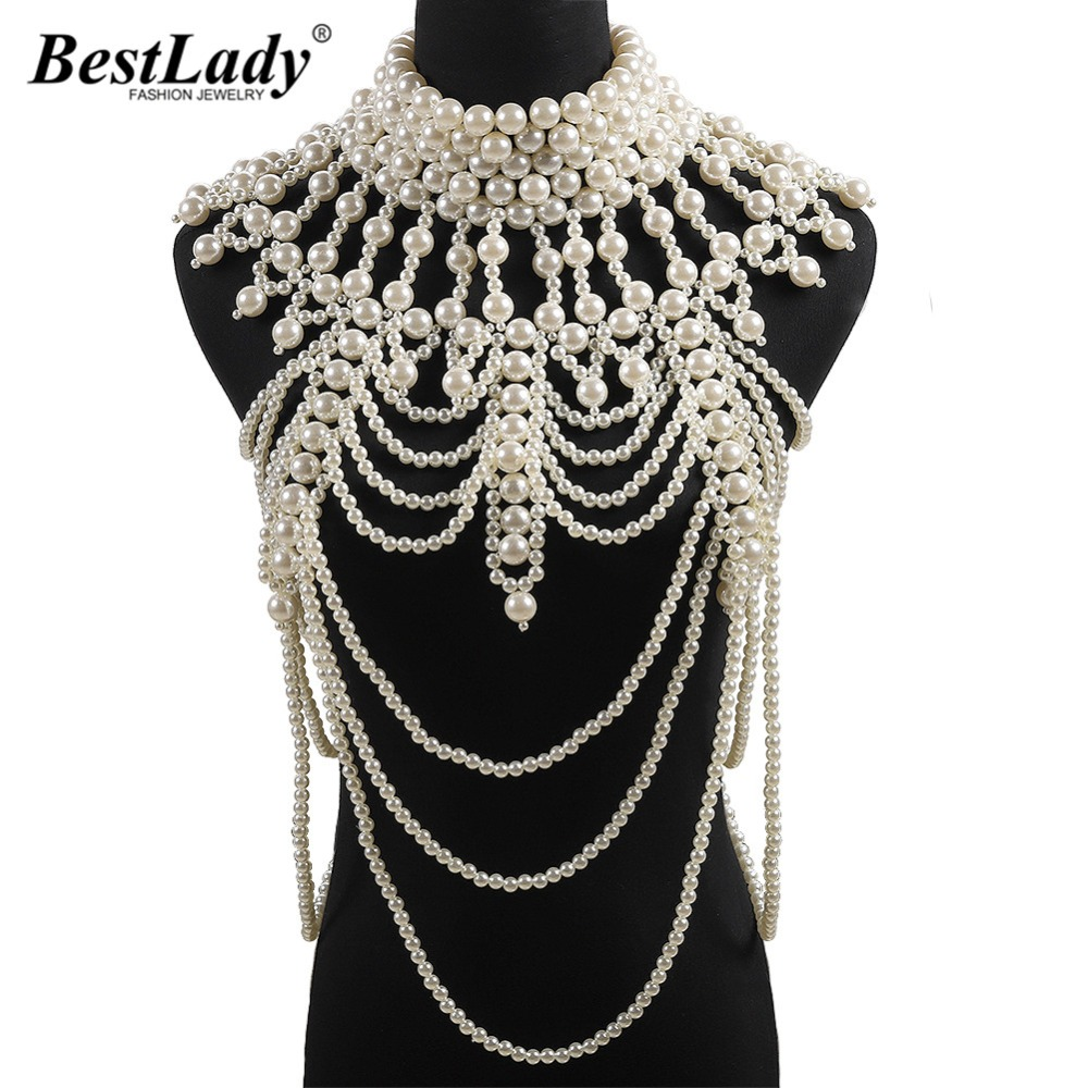Best lady 2019 New Luxury Simulated Pearl Body Chain Brand Design Big Statement Jewelry Party Charm Unique Wedding Jewelry GiftsBest lady 2019 New Luxury Simulated Pearl Body Chain Brand Design Big Statement Jewelry Party Charm Unique Wedding Jewelry Gifts