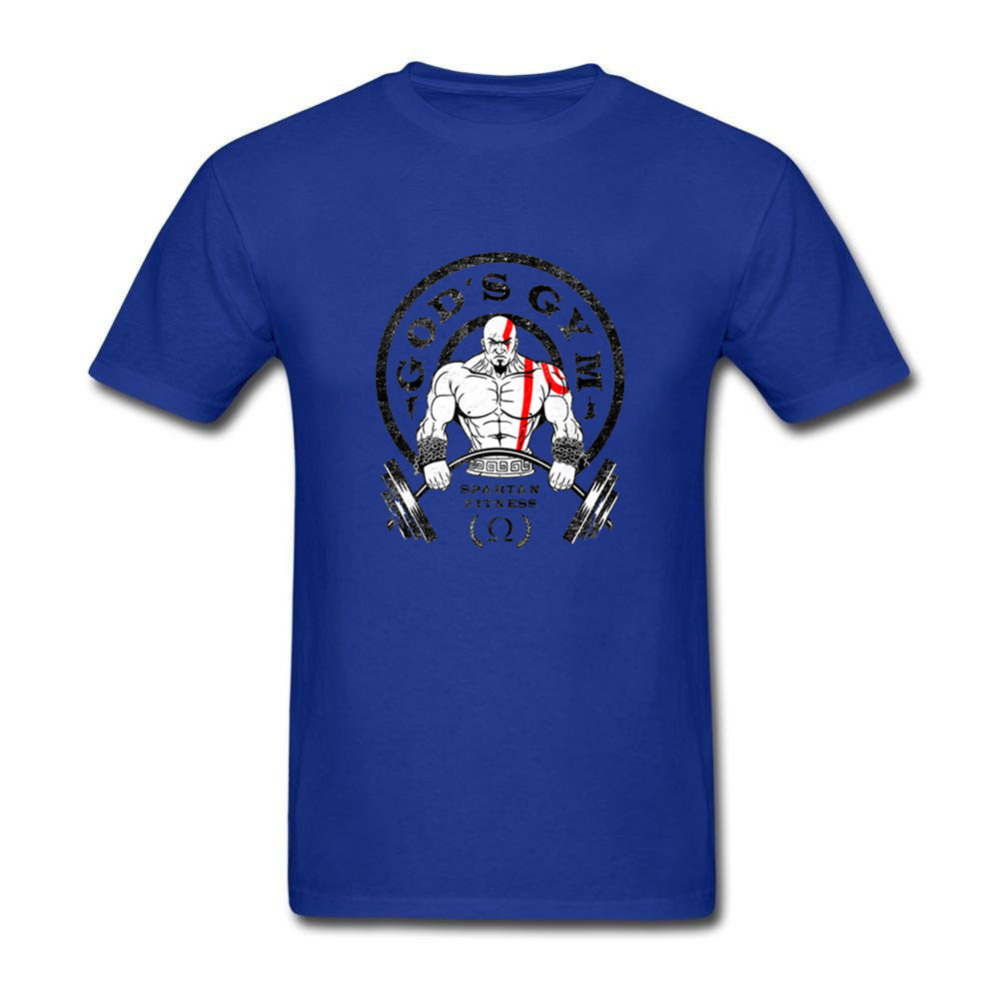 New Design Gyms spartan fitness vintage mens casual cotton-print crew neck short-sleeved blouse and 2018 Fathers Day gift