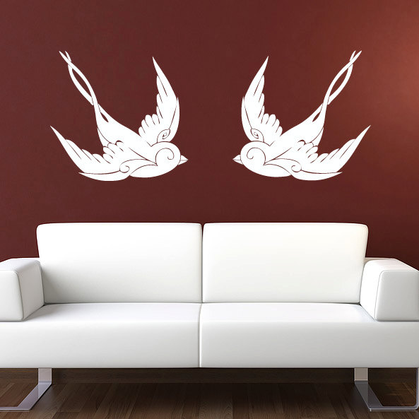 d353159ba19 Removable Vogue Sparrows Pattern Wall Decal Vintage Animal Wall Stickers  For Living room bedroom home Decoration