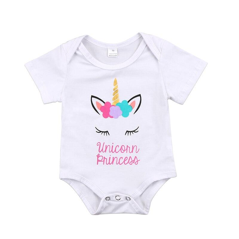 0-18 Mt Nette Neugeborene Baby Kurzarm Floral Einhorn Body Suit Jumpsuit Outfits Baby Body Kleidung BerüHmt FüR AusgewäHlte Materialien, Neuartige Designs, Herrliche Farben Und Exquisite Verarbeitung