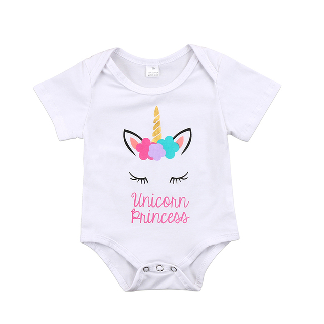 037b7cc70b8 0-18M Cute Newborn Baby Girl Short Sleeve Floral Unicorn Body Suit Jumpsuit  Outfits Baby Bodysuit Clothes