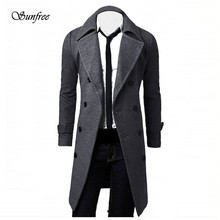 Sunfree  2017 New Fashion Winter Men Slim Stylish Trench Coat Double Breasted Long Jacket Parka Brand New HIgh Quality Dec 21