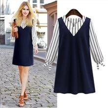 Maternity clothing spring 2017 fashion top V-neck stripe medium-long one-piece dress plus size L-5XL long-sleeve dress