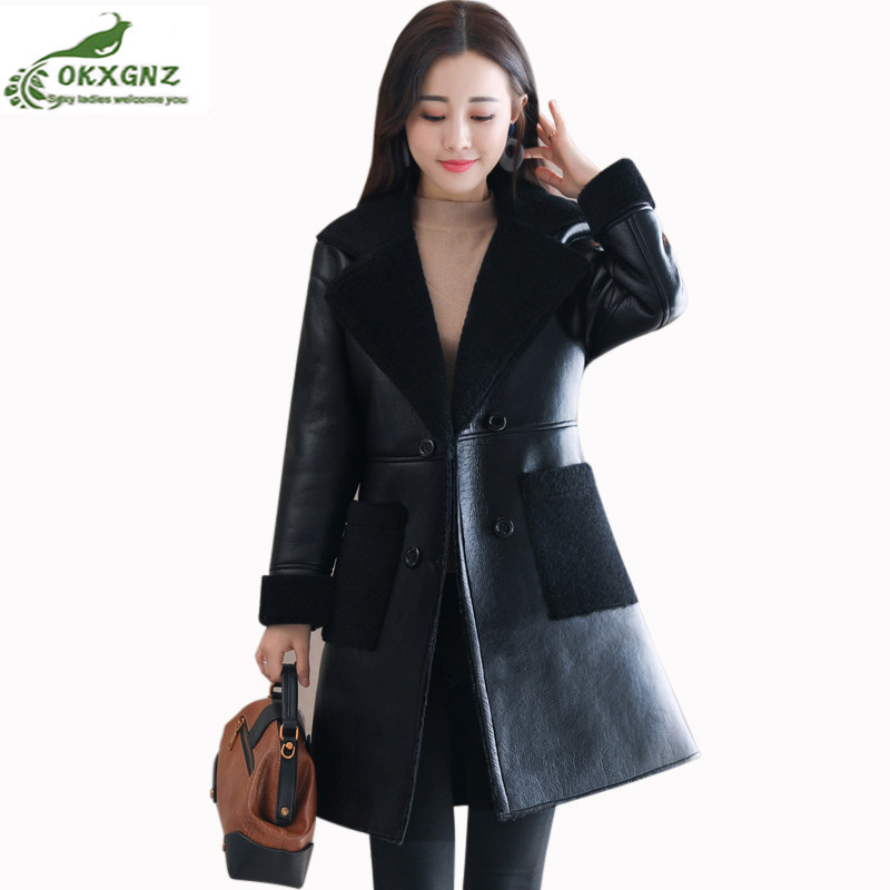 Warm Sheep Shearing Fur Outwear Female 2019 Autumn Winter Women PU   Leather   Jacket Coat Haining Fur Medium Long Lamb   Leather   Coat
