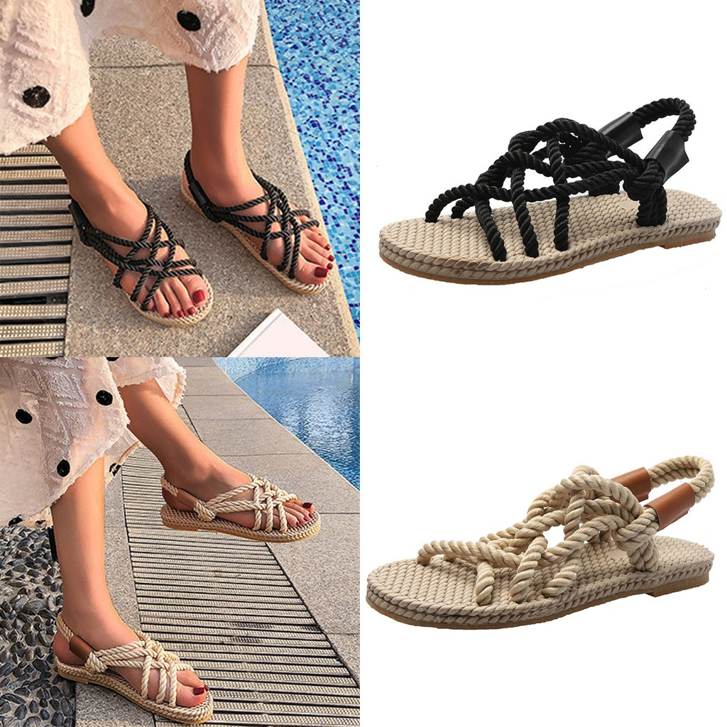 HTB1kNBddW1s3KVjSZFAq6x ZXXaC - SAGACE Sandals Woman Shoes Braided Rope With Traditional Casual Style And Simple Creativity Fashion Sandals Women Summer Shoes