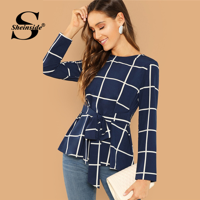 9e26372459f0d9 Sheinside Navy Elegant Self Belted Grid Top Skirt Bottom Plaid Blouse 2018  Autumn Office Ladies Long Sleeve Workwear Blouses