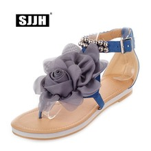 купить SJJH Woman Bohemia Flat Sandals with Cover Heels Flower Beading Buckle Strap Comfort Fashion Sweet Casual Shoes Large Size S681 дешево