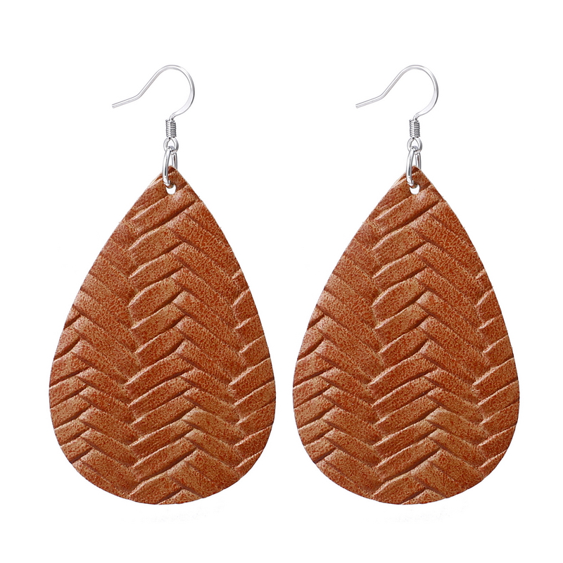 New Teardrop Leather Earrings Petal Drop Earrings Antique Lightweight S925 Carved Stainless Steel Earrings For Women Gifts 13