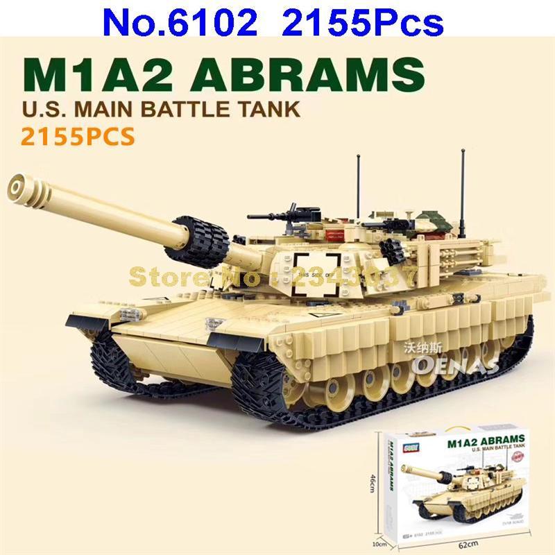 グディ 6102 2155 個軍 m1a2 戦車 ww2 兵士エイブラムス軍戦争ビルディングブロックおもちゃ  グループ上の おもちゃ & ホビー からの ブロック の中 1