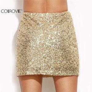 Image 2 - COLROVIE ผู้หญิงกระโปรงสั้นผู้หญิงเกาหลีเซ็กซี่ Clubwear ทองปักเลื่อมมินิกระโปรง