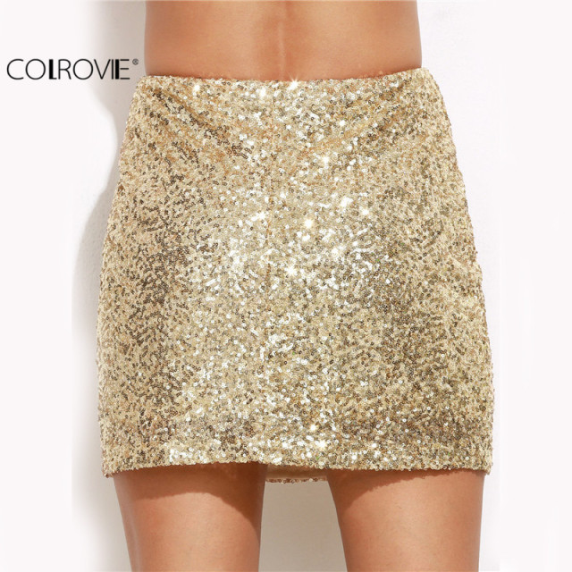 Clubwear Solid Gold Embroidered Sequin  A Line Mini Skirt