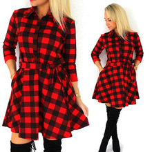 spring and autumn plaid long sleeve mini woman dresses new style casual sash empire female