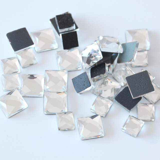6mm 8mm 10mm Crystal Clear Square Hot Fix rhinestone Flat back DMC HotFix  Fancy stone For 43d0970c0702