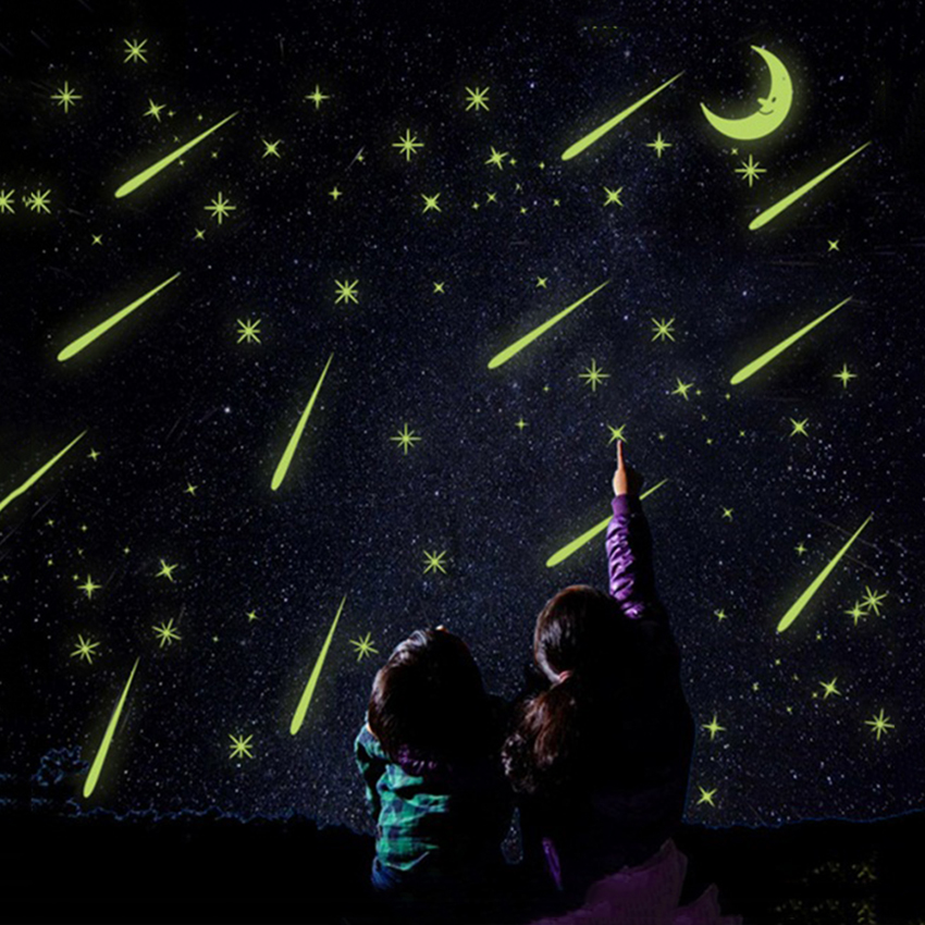 Meteor Shower Wall Stickers Romantic Sky Star Moon Wall Decals Luminous Stickers Fluorescence Kids Room Bedroom Nursey