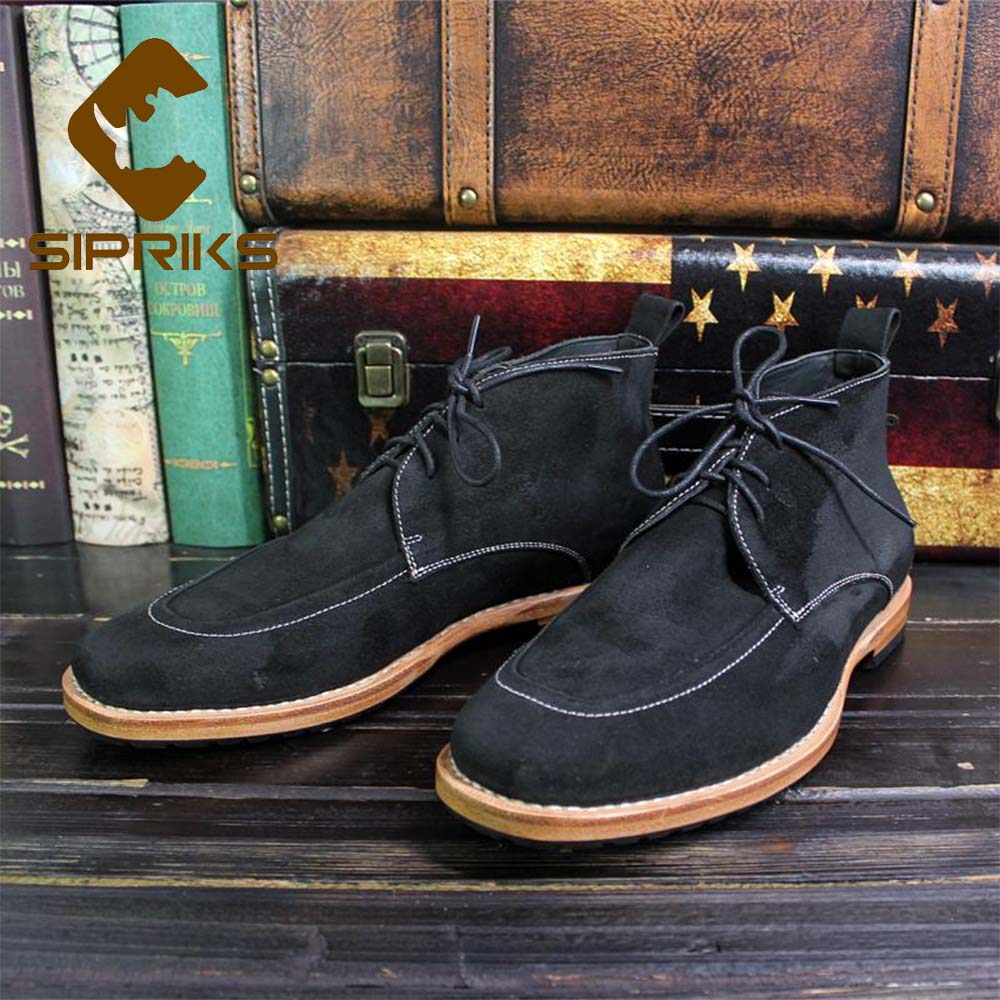 Sipriks Luxury Improted Italian Cow Suede Leather Desert Boots Mens Black Lace Up Goodyear Welted Shoes High Top Cut Shoes 44 45 недорго, оригинальная цена