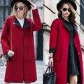 Европейский стиль элегантный осень пальто женщин дизайнер лоскутное длинный красный серый пальто высокого качества кашемировые пальто abrigos mujer