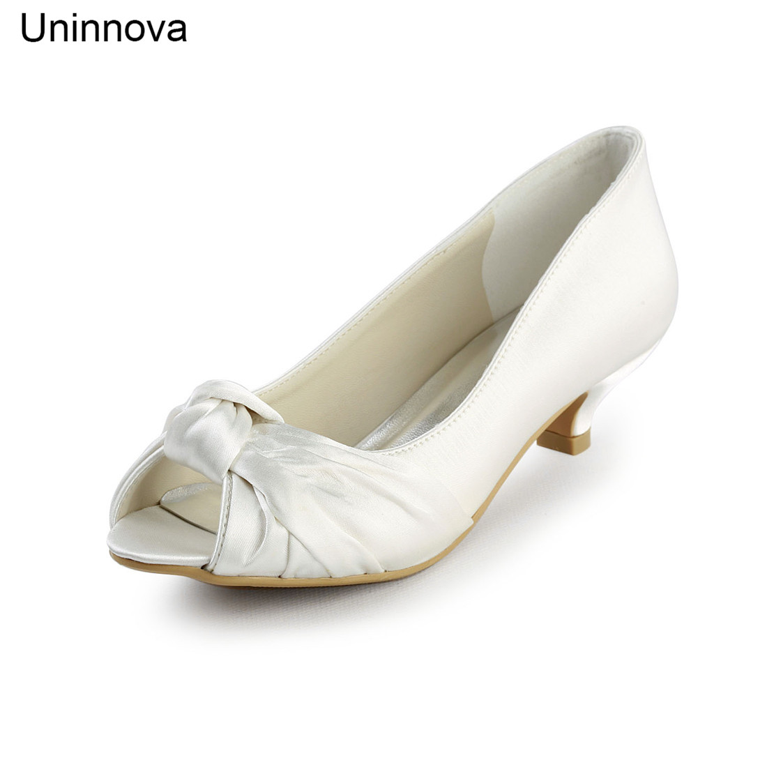 Bridal Bridesmaids Knot Med Wedding Heels Pumps Peep Toe Ivory Whit Champagne for Women Big Days Shoes 100 10 LY