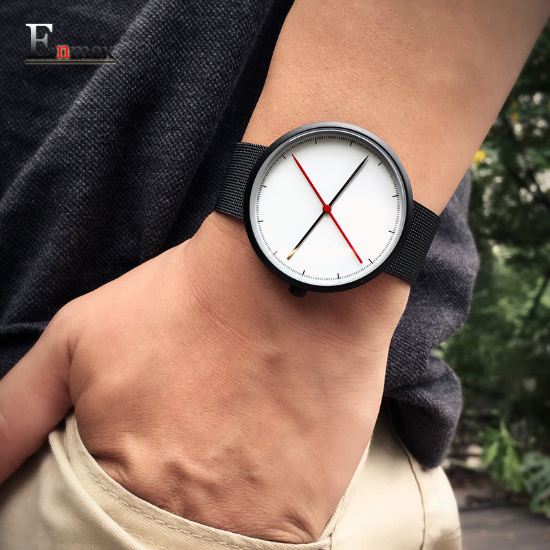 2016 gift Enmex creative style  cool wristwatch two balance hands with Fine scale casual stainless steel fashion quartz watch 2017 gift enmex the beauty of abstract design wristwatch creative dial stainless steel simple fashion for young peoples watches