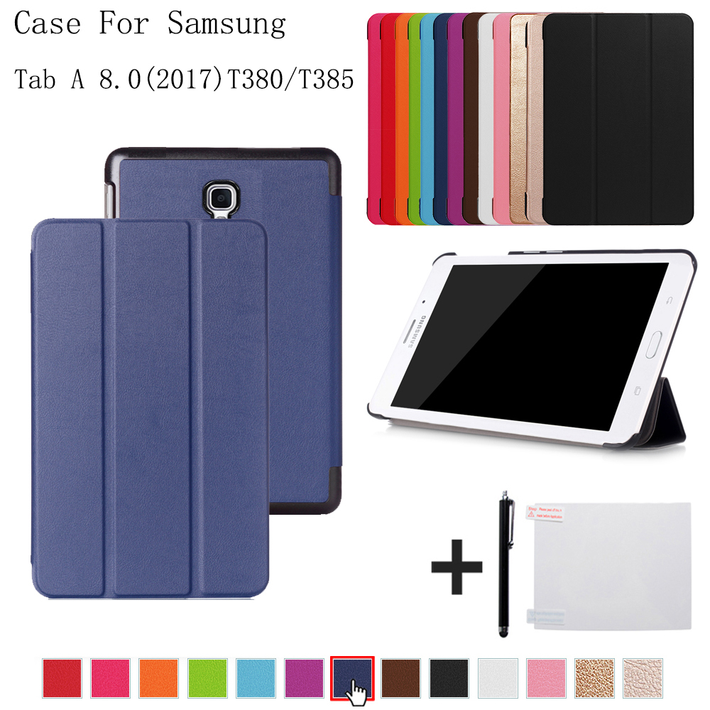 Folio cover case for Samsung Galaxy Tab A 8.0 SM-T380 T385 2017 for samsung Galaxy Tab A2 S SM-T380 T385 cover case+free gift