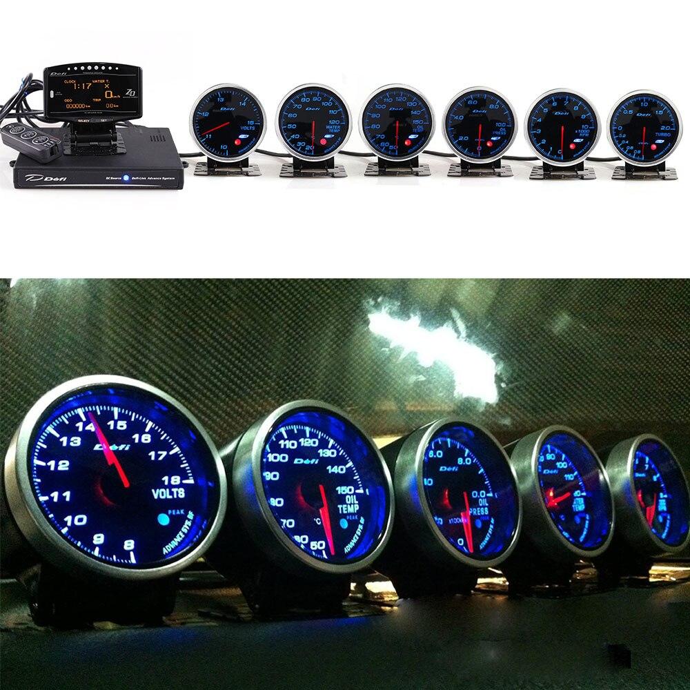 Antecedência Defi Sistema Daisy Chain Calibre Auto ZD + 6 medidores de Adiantamento bf Volts Óleo Temperatura Da Água Temp Oil Press tacômetro RPM Turbo carro