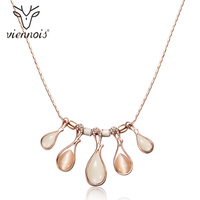 Viennois Rose Gold Color Women Chain Necklaces Crystal Opal Stones Female Statement Necklaces Party Wedding Jewelry