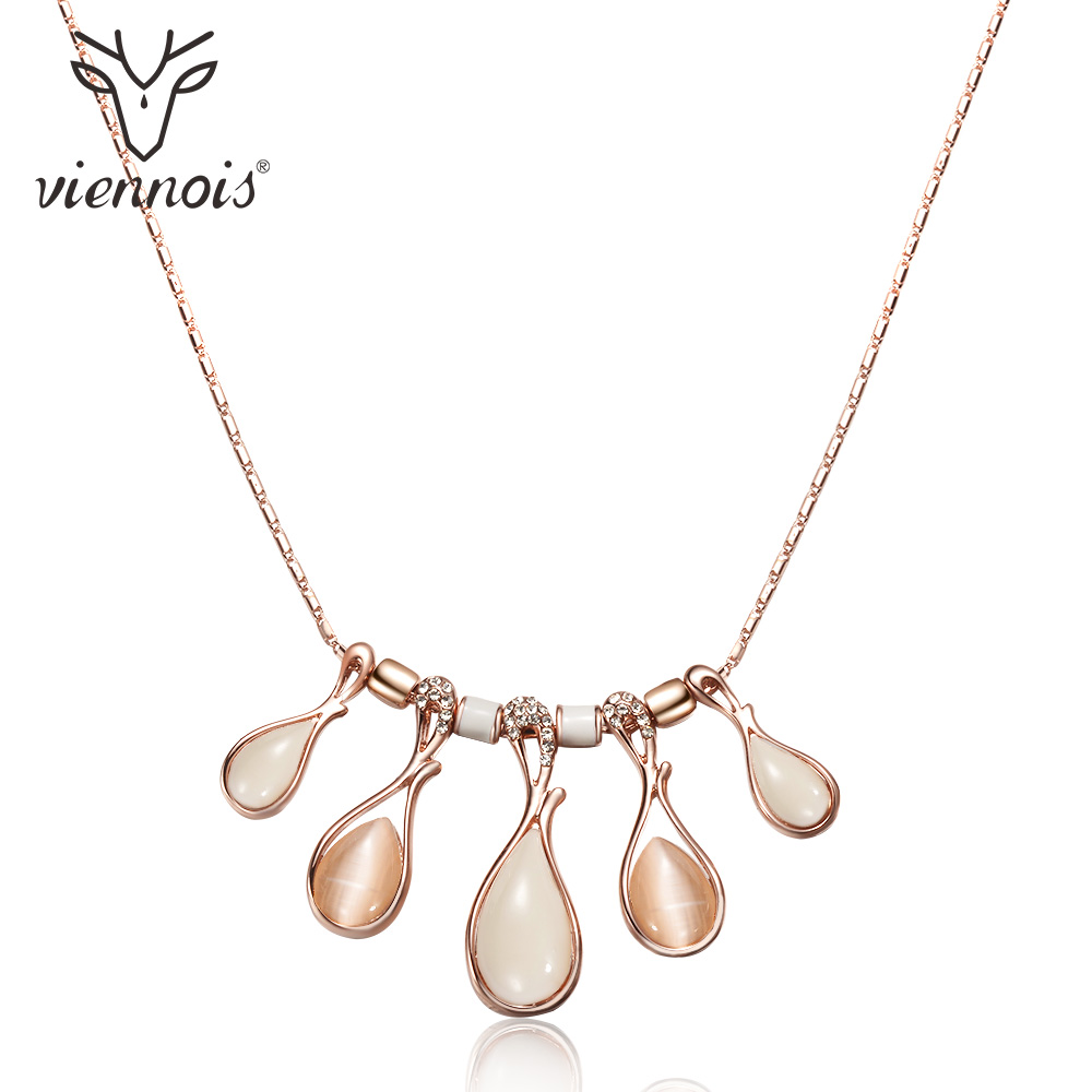 Viennois Rose Gold Color Women Chain Necklaces Crystal Opal Stones Female Statement Necklaces Party Wedding Jewelry viennois fashion jewelry silver color chain necklace with blue crystal rhinestone woman luxury wedding necklaces