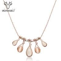Viennois Rose Gold Farbe Frauen Kette Halsketten Kristall Opal Steine Weibliche Erklärung Halsketten Partei Hochzeit Schmuck