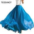 Fashion Women Chiffon Maxi Skirt Elastic High Waist Long Saia XL Ladies Spring Summer 21 Color Soft Expansion Skirt