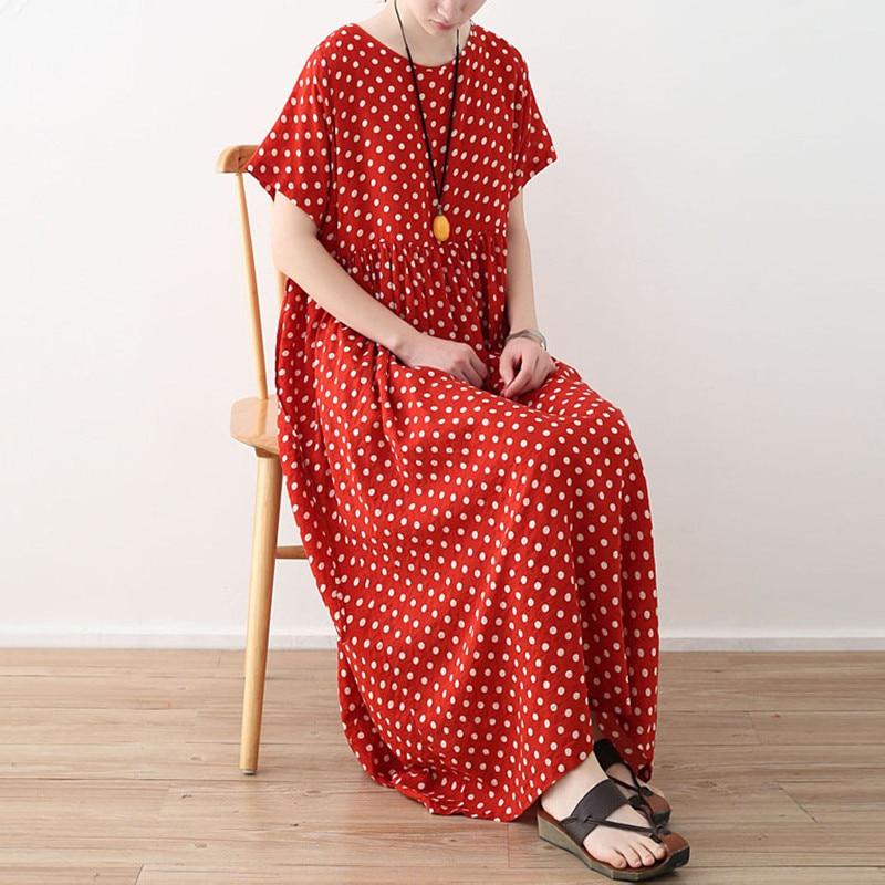 Johnature Short Sleeve High Waist Wave Dot Robe Dresses New O Neck Solid Color 2019 Summer