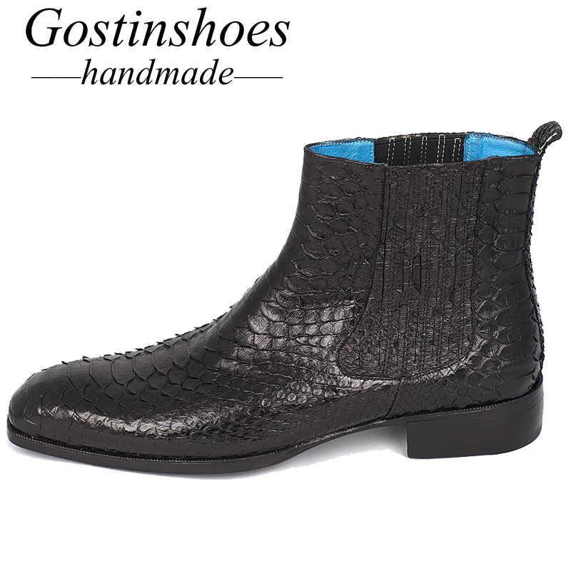 GOSTINSHOES/Роскошные мужские ботинки ручной работы, хорошо Окаймленный цвет черные мужские ботинки из натуральной змеиной кожи рабочие ботильоны без шнуровки, SCF30