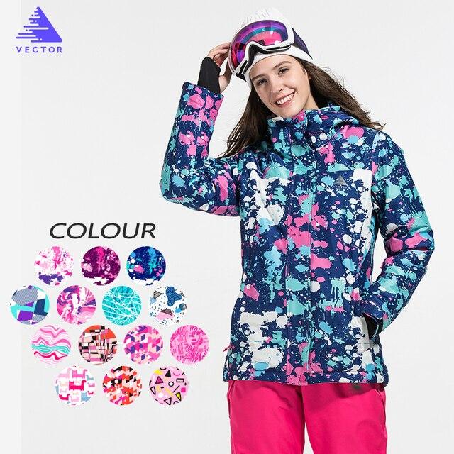 Векторная брендовая лыжная куртка женская ветрозащитная непромокаемая теплая зимняя куртка уличная спортивная зимняя куртка лыжная одежда для сноуборда
