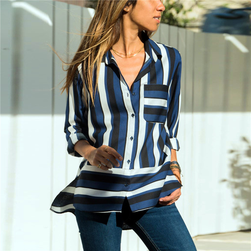 Women Blouses 2019 Fashion Chiffon Blouse Long Sleeve Turn Down Collar Office Striped Shirt Plus Size Loose Tops Chemisier Femme