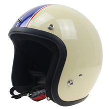 white with Blue strips Classic open face motorcycle helmet Safety motor bike helmet ABS shell 5 size available casco 3/4 helmet