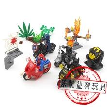 Купить с кэшбэком 4pcs LegoINGlys Super Heroes Spider man Batman Captain America Motorcycle Building Blocks Model Sets Toy For Kids Boys Gift