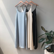 Fashion 2019 Woman V Neck Satin Dress Casual Female Dresses Sexy Solid Long Maxi Dress